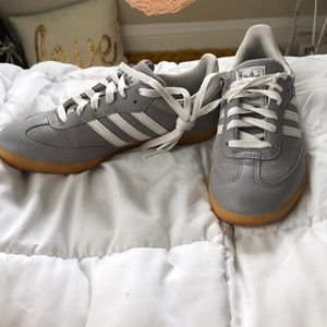 Grey adidas sambas